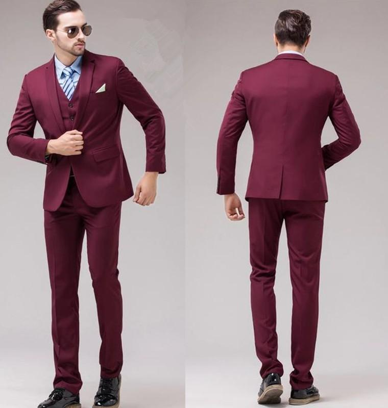 Slim Fit Back Vent One Button Burgundy Groom Tuxedos Notch Lapel ...