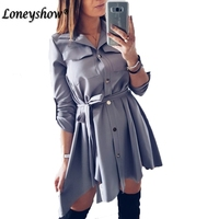 Irregular Tie Waist Shirt Dress Women Spring 2018 Wrap Dress Long Sleeve Turn Down Collar Satin