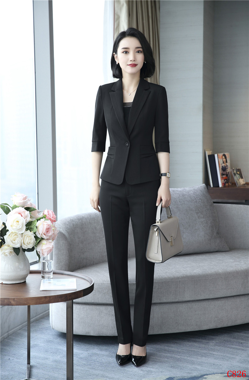 2018 Spring Summer Uniform Styles Elegant Formal Pantsuits With Jackets And Pants For Ladies Professional Blazers Trousers Set
