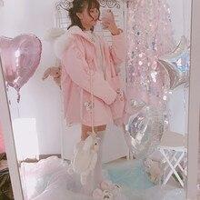 Новинка зимы, женское милое Пальто Harajuku, розовый принт с кроликом, Мультяшные куртки, Kawaii, милая одежда на молнии для молодых девушек с капюшоном