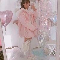2017 Winter new Women Sweet Harajuku Coat Pink Bunny Rabbit Print Cartoon Jackets Kawaii Cute Young Girl Zip Outfit with Hooded