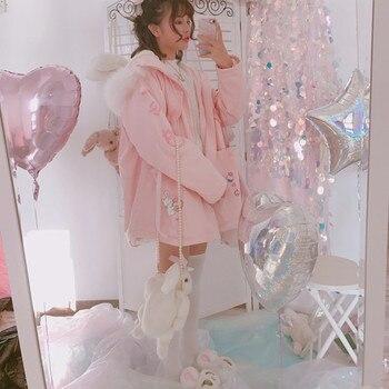 Zima nowych kobiet słodkie Harajuku płaszcz różowy króliczek królik drukuj Cartoon kurtki Kawaii słodkie młoda dziewczyna Zip strój z kapturem