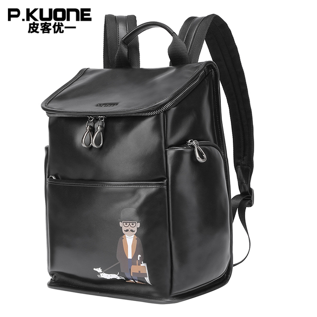 P Kuone 2018 New Design Uncle Walk Dog Backpack Best Genuine Leather Laptop Shoulder Bag