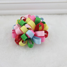 Colorful Boutique Elastic Hair Clip Ball Barrette For Little Girls