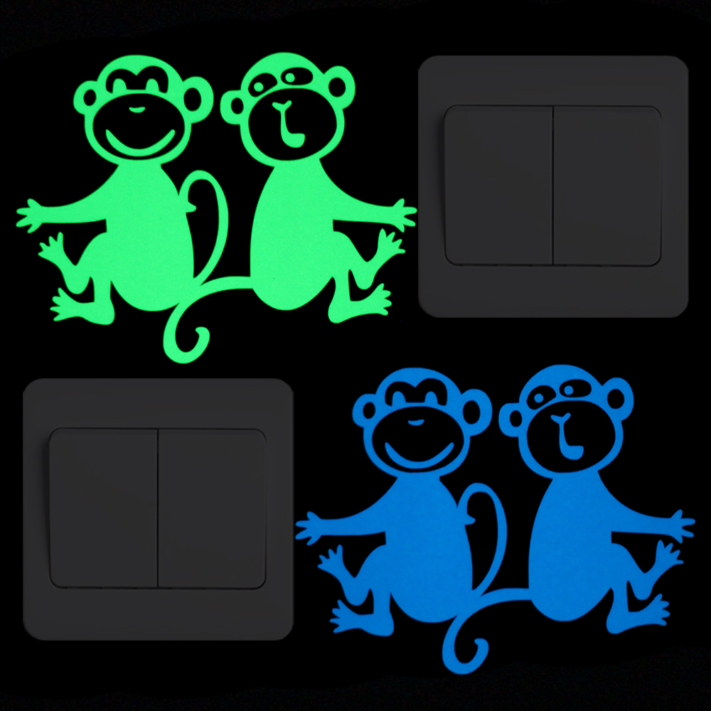 Luminous Monkey Stickers Kids Room DIY Decoration Glow in the Dark Switch Sticker Decal Home Decor Romantic Wall Sickers