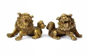 Lucky Chinese Fengshui Pure Brass Guardian Foo Fu Dog Lion Statue Pair.