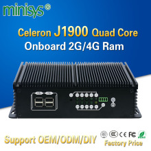 Minisys rugged industrial embedded box pc intel J1900 quad core processor 2 lan port 6 usb onboard 2G 4G Ram mini itx computer