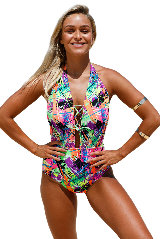 Lace Up Halter One Piece Swimsuit Sexy Women Open Back String Detail Bikini Bathingsuit Beachwear Maillot Swimwear Summer