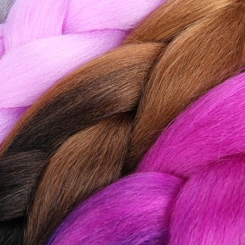 SAMBRAID 24 Inch Ombre Synthetic Hair Jumbo Braiding Hair For Jumbo Braids 100g/Pack Crochet Braids False Hair Extensions Multan