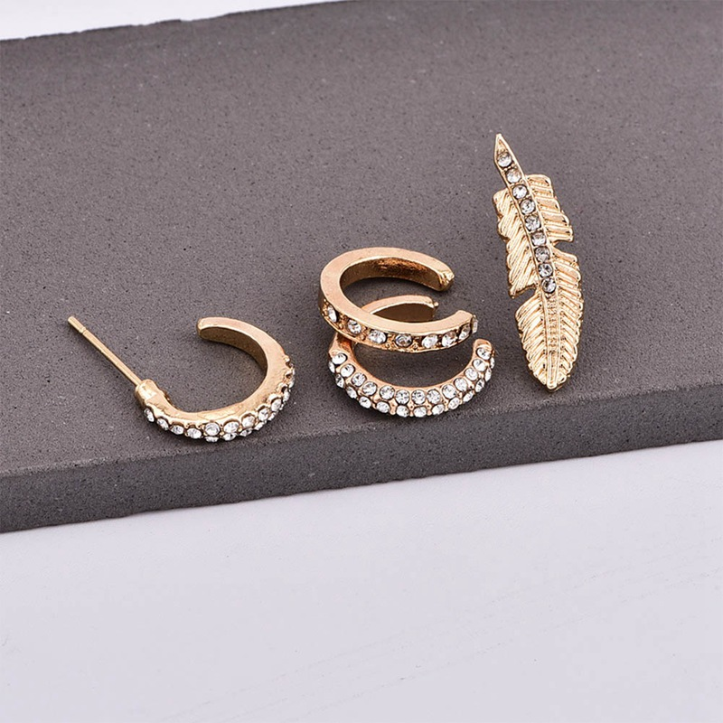 Clip Earrings 4 Pcs/set Gold Color Ear Stud Crystal Rhinestones Leaf Earrings Ear Clip Women Girls Fashion Jewelry Gift Relieving Heat And Sunstroke