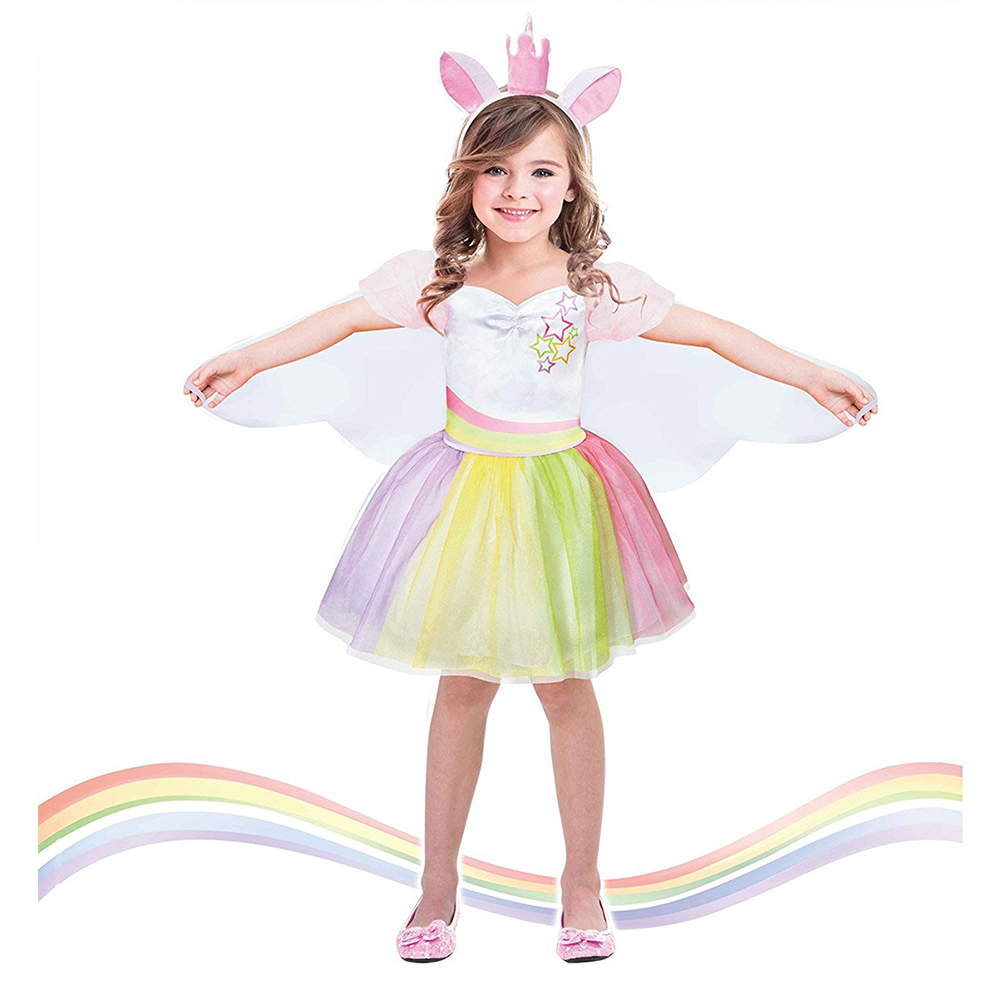 1 Set Baby Girl Clothes Unicorn Party Dresses with Headband and Wings Girls Dress Birthday Princess Tutu Dress Kids Vestidos 2018 baby infant newborn girl winter princess dress headband outwear 3pcs set new born 1 2 year birthday party tutu dress