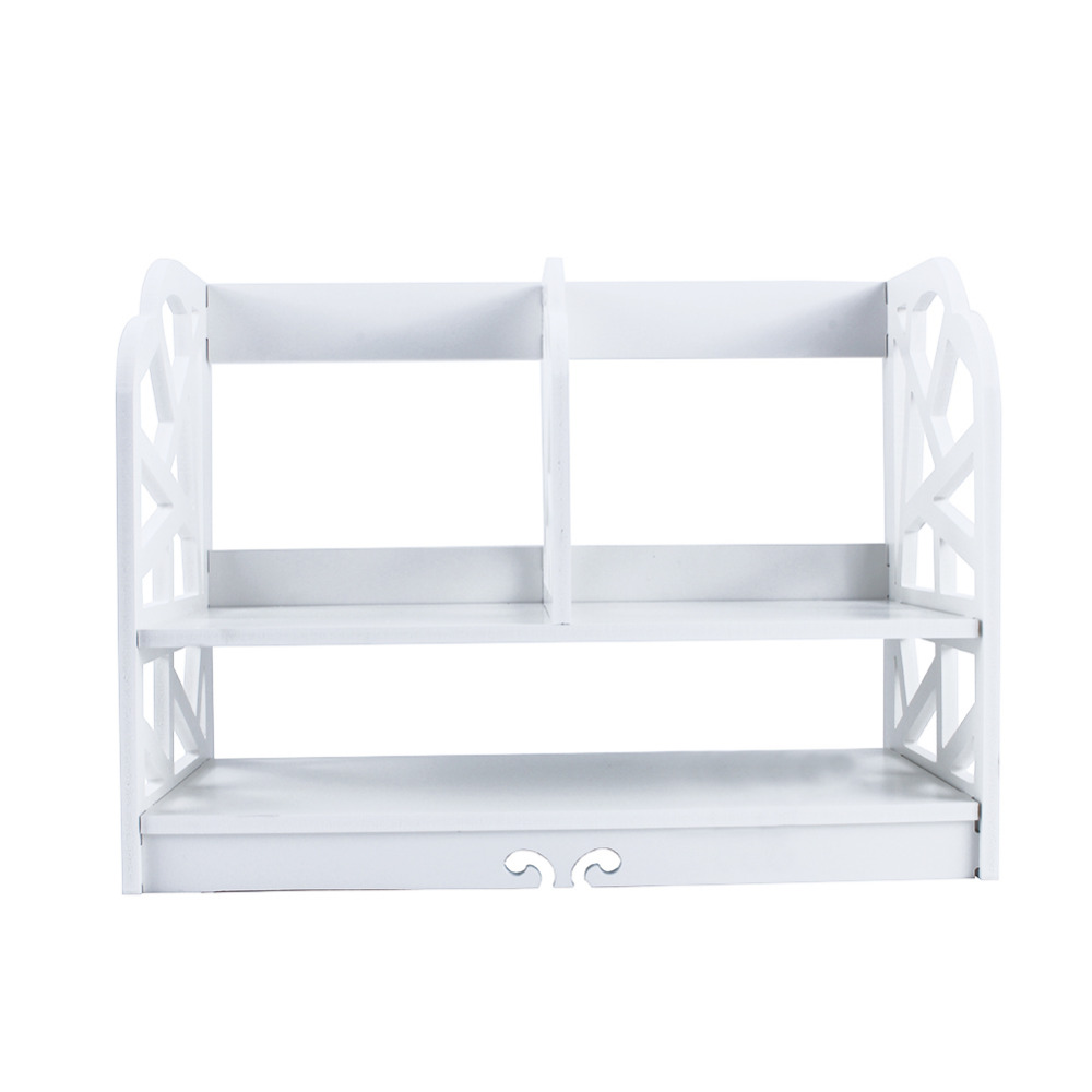 Image 2 - 2 Tiers DIY Shelving CD Book Storage Box Unit Display Bookcase Commodity Stationery Shelf  Student Desk Home Office-in Bookcases from Furniture