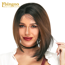 Ebingoo Dark Rooted Ombre Brown Short Straight Bob Futura Fiber Full Hair Wigs Synthetic Lace Front Wig Side Part недорого