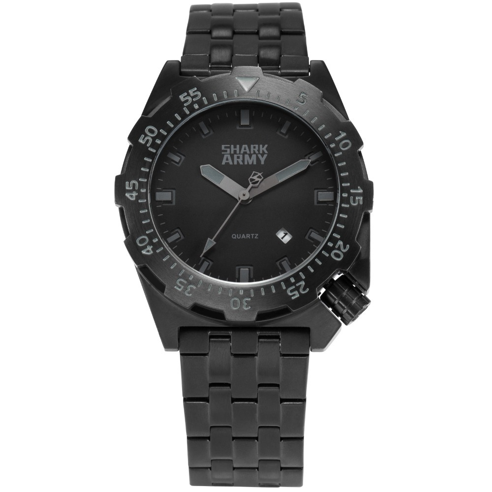 Shark Army Black Watch 10ATM Water Resistant Surfing Military Watches Men Auto Date Relogio Clock Quartz Erkek Saatler / SAW189 voodoo ii shark army auto date black silicone strap military wristwatch sports clock men military quartz wrist watches saw177