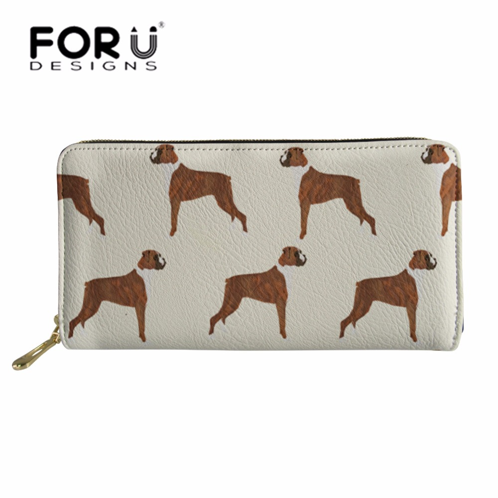 FORUDESIGNS Ladies Cluth PU Leather Purse for Women Boxer <font><b>Dog</b></font> Printing Cute Coin Pocket <font><b>Phone</b></font> Card <font><b>Holder</b></font> Female Long Wallet