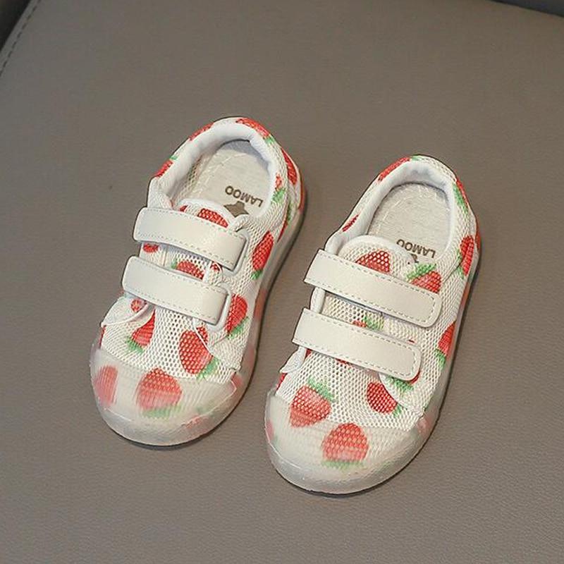 2019 New Girls Fashion Mesh Shoes Boys Soft Bottom Casual Shoes Children Fruit Leopard Shoes