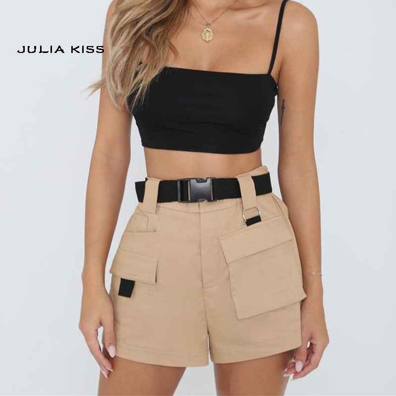 Women High Waist Pockets   Shorts   with Belt in Khaki & Black & Army green