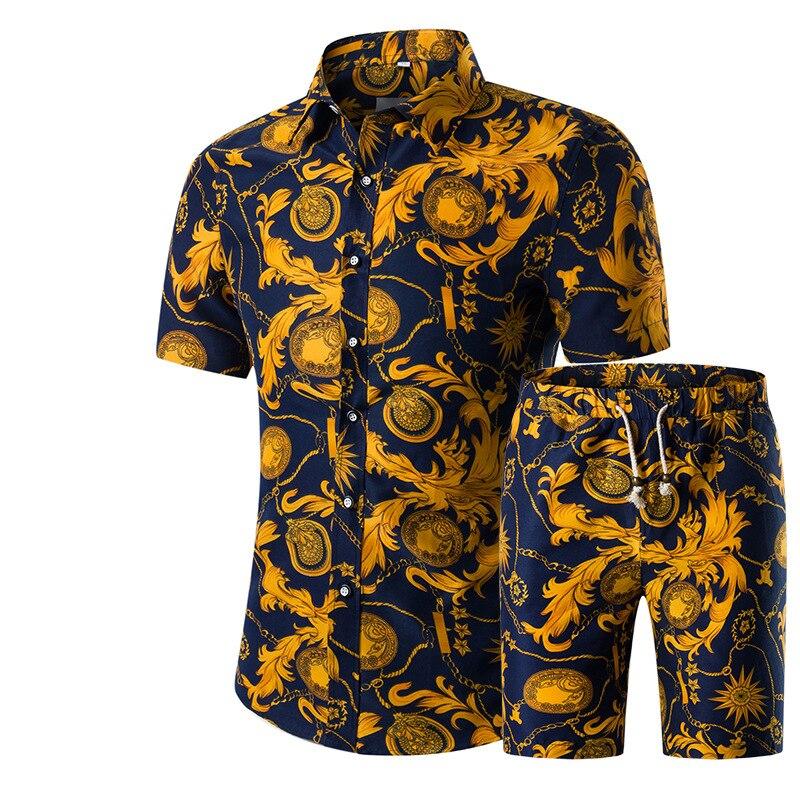LONGBIDA Men Shorts Summer Casual Shirt Homme Short Male Printing Dress Suit Sets