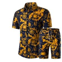 Новая мода, мужские рубашки+ шорты, летний повседневный комплект, рубашка с принтом, мужские шорты с принтом, костюм, комплекты размера плюс 5XL