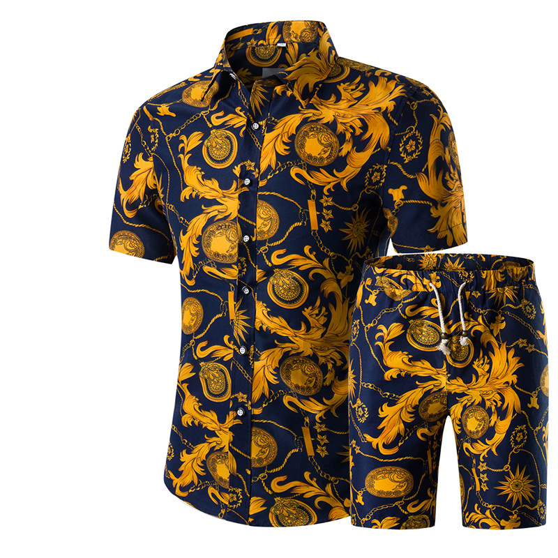 New Fashion Men Shirts+Shorts Set Summer Casual Printed Shirt Homme Short Male Printing Dress Suit Sets Plus Size 5XL