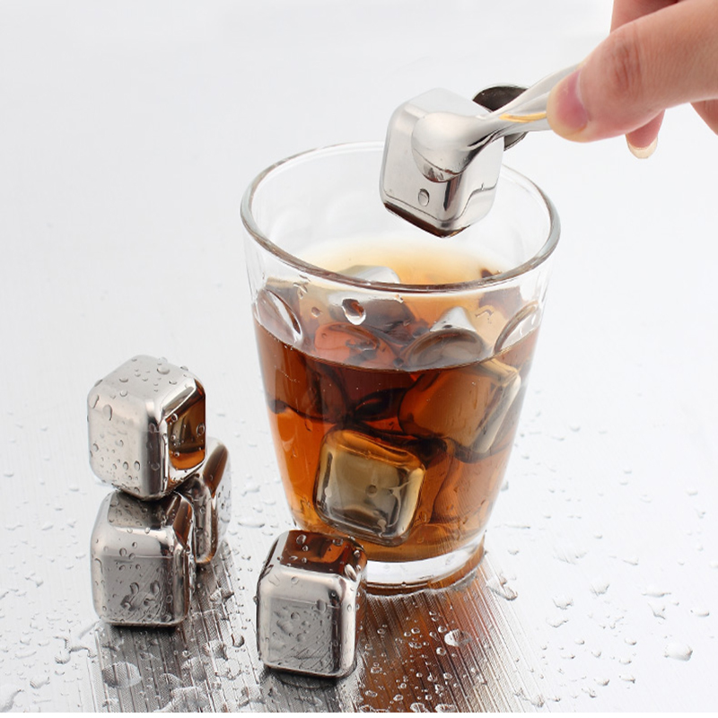 4pcs/lot Newest Whiskey Stainless steel Stones Whisky ice cooler for Whiskey beer Bar household Wedding Gift Favor Christmas