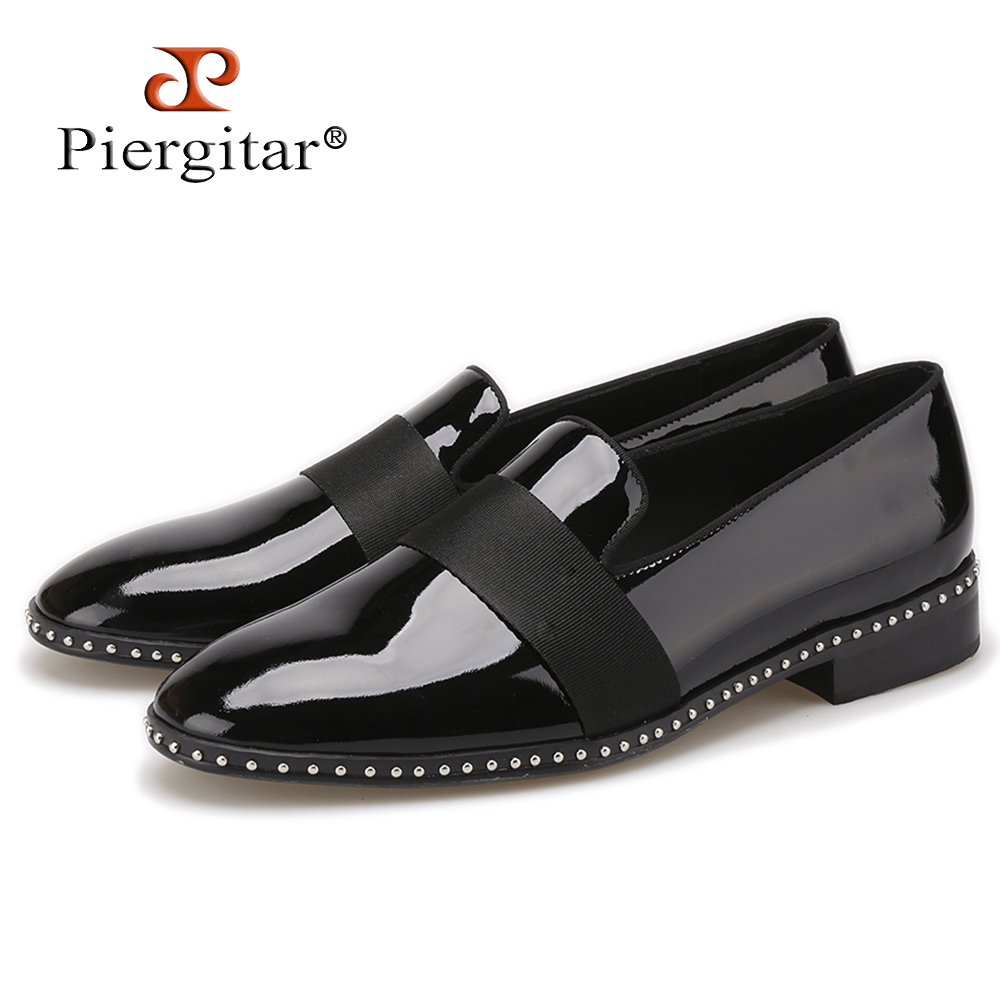Handmade Patent leather with black buckle men loafers Fashion Europe luxury brand party and wedding men dress shoes men's flats new handmade men fashion party and