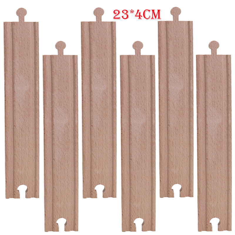 Friends 10pcs/lot 23cm Wooden Train Track Straight Tracks Set Educational Blocks Toys Railway Accessories Bloques De