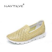 NAYTILYE Для женщин обувь летние комфорта кожи Туфли без каблуков Размеры обувь цвет: желтый, белый Черного цвета;