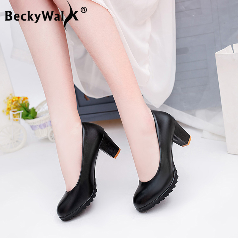 Spring Summer Women Shoes Round Toe Pumps Thick High Heels Working Shoes Woman Zapatos De Mujer Sexy Lady Platform Pumps WSH3188