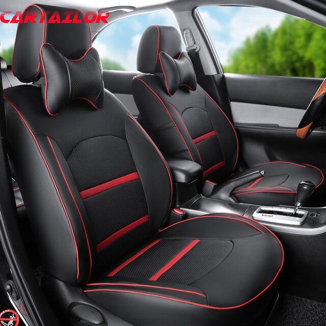 cartailor auto stoelhoezen fit voor hyundai ix35 auto interieur accessoires zwart pu lederen bekleding set