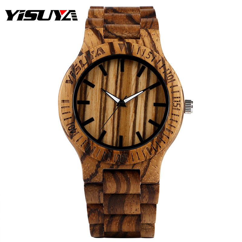 YISUYA Brand Nature Wooden Wrist Watch Creative Hand-made Full Wood Stripe Dial Band Watches for Men Women with Bamboo Strap sihaixin wooden watch male timepiece simple black design men top brand wrist watches nature hand made bamboo quartz clock man de