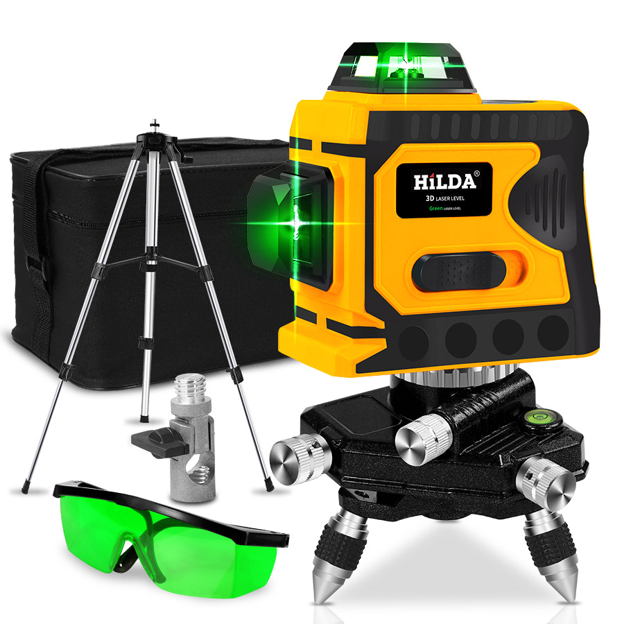 Laser Level 12 Lines 3D Level Self-Leveling 360 Horizontal And Vertical Cross Super Powerful Green Laser Level