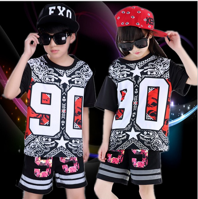 110-180cm children adult women men girl boy black Hip Hop hiphop DS Jazz Dance Costumes clothes T shirt  short Pants suit