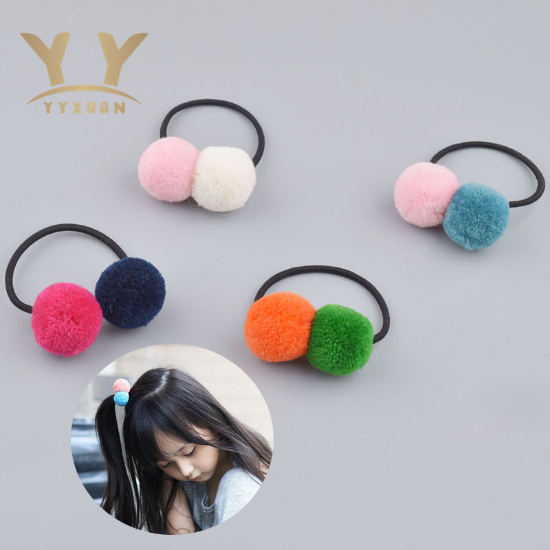 YYXUAN Cute Candy Color Pom Elastic Hair Ties Hair Ropes two Ball Elastic Hair Tie Rope Kids Ponytail Holder Rubber 1 piece 100pcs lot cute candy fluorescence kids girl elastic hair bands ponytail holder hair rubber band rope ties gum scrunchies