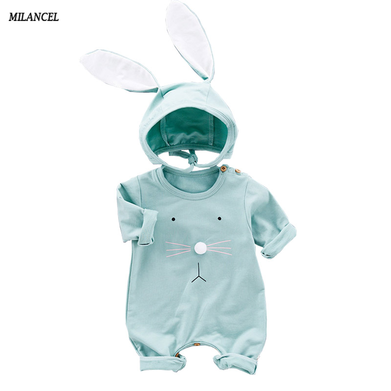 Milancel 2017 Baby Girls Rompers Autumn Baby Boys Clothing Long Sleeve Baby Jumpsuits Kids Newborn Outwear Bunny Romper for Kids baby hoodies newborn rompers boys clothes for autumn magical hooded romper long sleeve jumpsuit kids costumes girls clothing