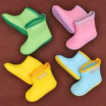 Kids Rainboots Boys Girls Antiskid Wellies soft Water Shoes Widen Toe Baby Cute Non slip Rain