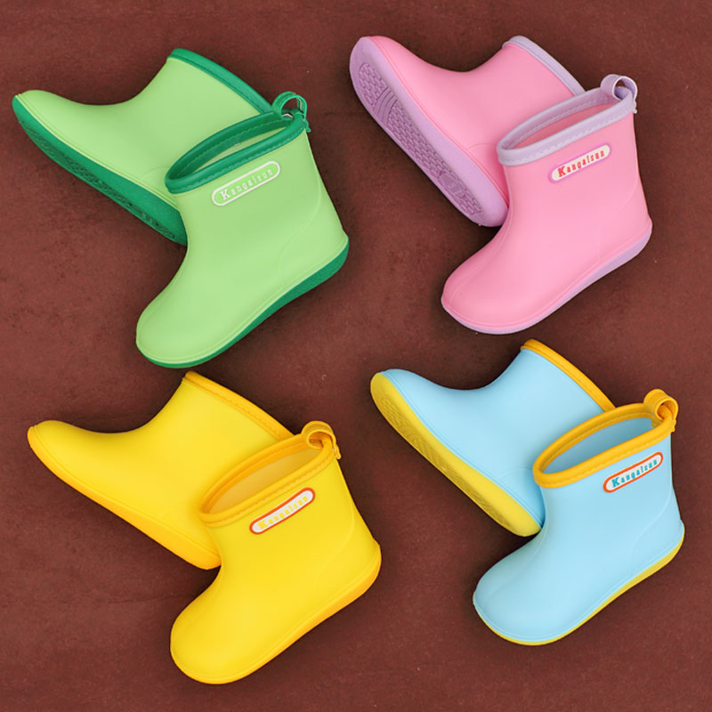 Kids Rainboots Boys Girls Rubber boots Antiskid soft Water Shoes Widen Toe rain boots Baby Children yellow Rain Shoes for 1-6y