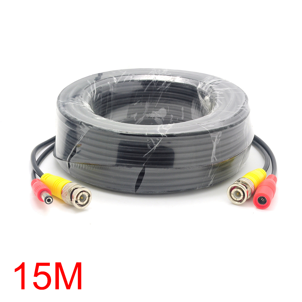 15M/49FT BNC DC Connector Power Audio Video AV Wire Cable For CCTV Camera dc bnc шнур 5м
