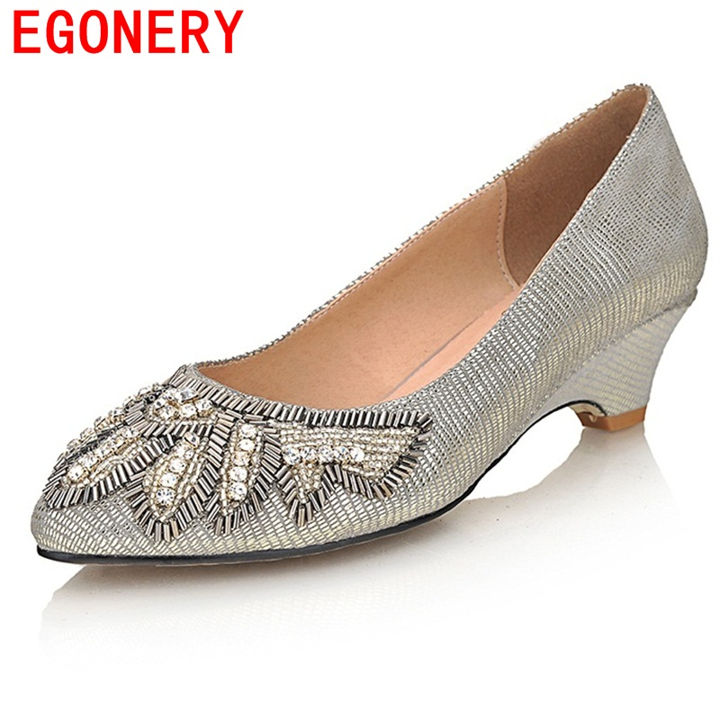4524a2d6e EGONERY sapatos 2017 nova europa e américa genuína mulheres de couro bombas  moda elegante cristal moderna apontou toe sapatos mulher
