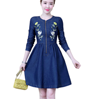 2018 Spring Summer Denim Dress O Neck Long Sleeve Floral Embroidery Slim Jeans Dresses A Line party dress vestidos robe femme