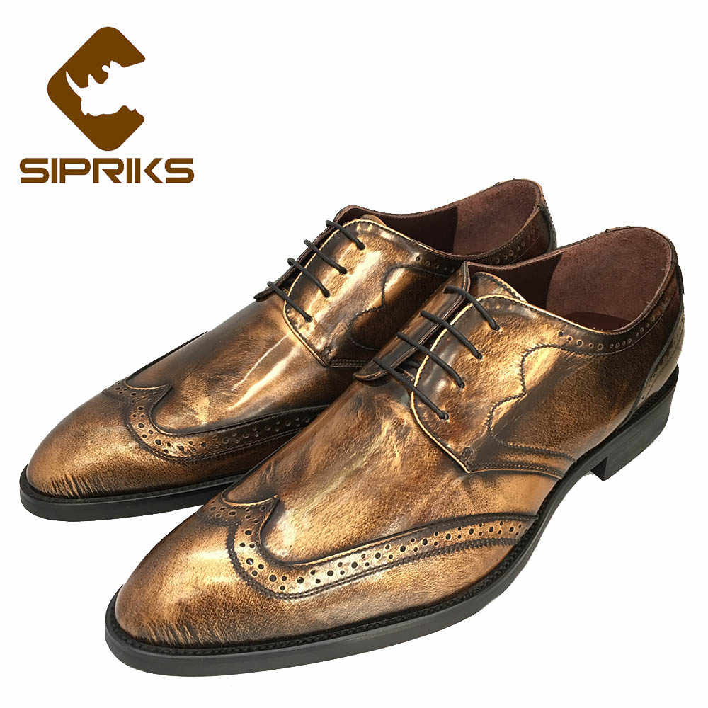baa437c01df26 Sipriks Luxury Vintage Genuine Leather Gold Shoes Dark Blue Tuxedo Shoes  Elegant Mens Black Shiny Italian Goodyear Welted Shoes