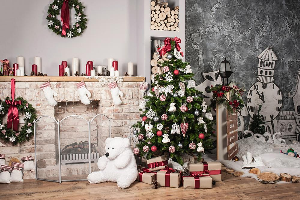 Capisco Christmas Tree Home Decoration Fireplace Scene Photography Backgrounds Vinyl New Year Backdrops For Photo Studio Props in Background from Consumer Electronics