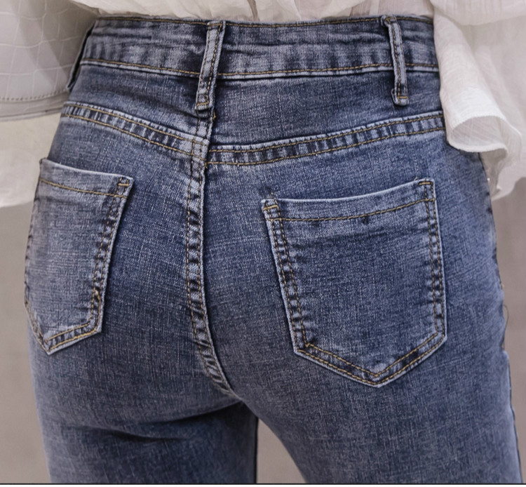 High Waist Women Jeans Flare Pants Tessal Bead Slim Fashion Pants High Waist High Elastic Ankle-Length Denim Trousers 6