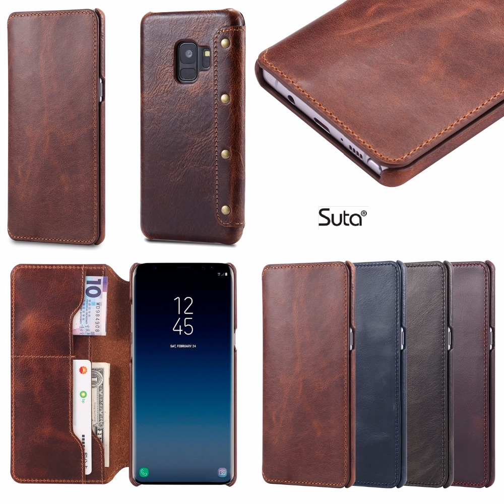 Real Genuine Leather S9PLUS case wallet Flip Cases cover For Samsung Galaxy S9 Plus S 9 phone cases card holder Retro Vintage