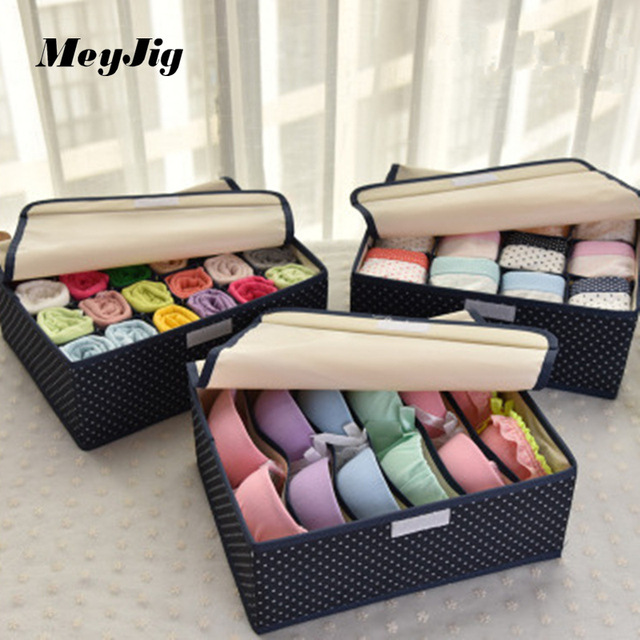 Washable Oxford Underwear Storage Box Bra Underwear Socks Collection Three  Sets Organizer Classification Storage Box