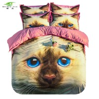 MING JIE 3D Animal Bedding Set Pet Cat Printed Duvet Cover Set Twin Full Queen 3pcs Pillowcase for Children Adults Bedroom Cover