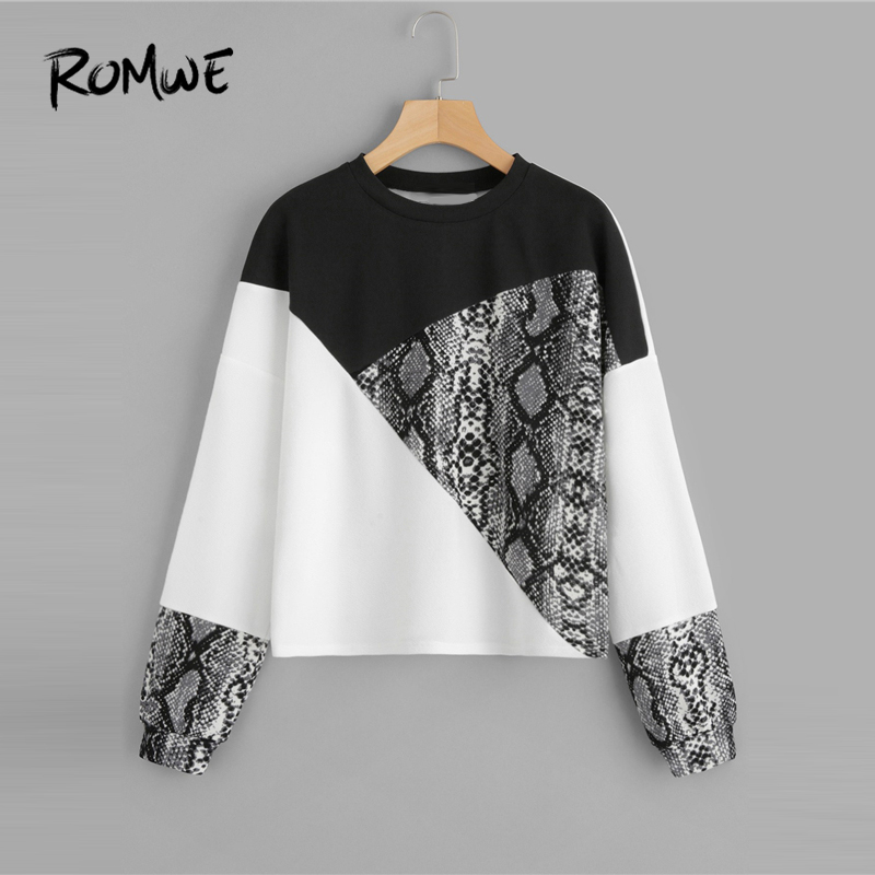 ROMWE Color Block Snake Skin Pullover 2019 Fashion Women Spring Autumn Sweatshirt Streetwear Female Long Sleeve Round Neck Tops