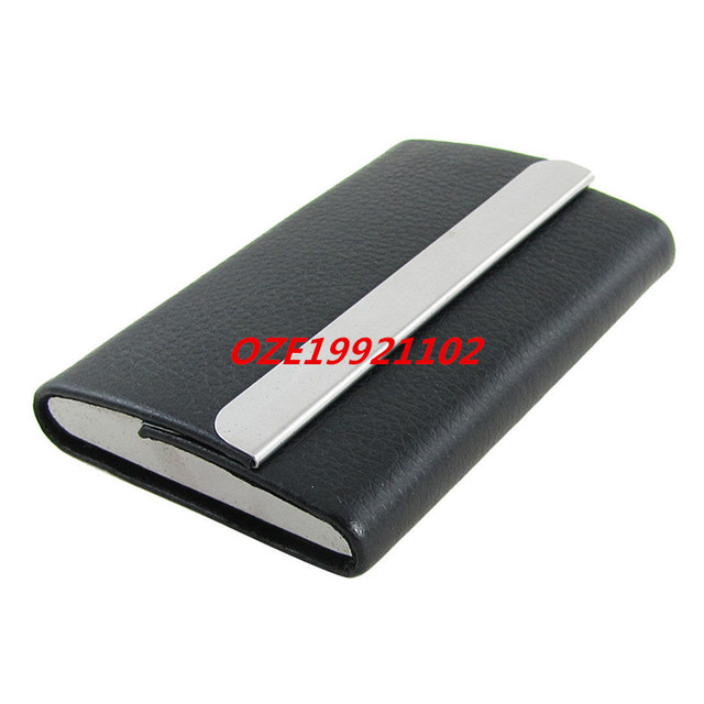 Aliexpress buy 1pcs black faux leather coated metal business 1pcs black faux leather coated metal business card holder case rexow colourmoves Images