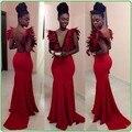 Gorgeous Formal mujeres vestidos noche 2016 V profundo cuello Backless Vestido de fiesta plumas sirena partido largo del Vestido Vestido rojo largo