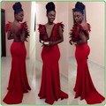 Lindo Formal vestidos 2016 V Neck Backless Prom Vestido de sereia longo Vestido de festa Vestido largo rojo